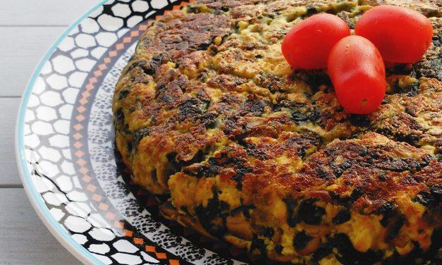 Tortilla de espinacas y champiñones