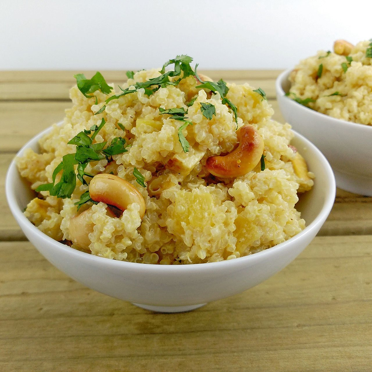 Quinoa con de salsa piña y anacardos