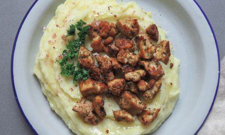 Parmentier de patata con migas de tofu