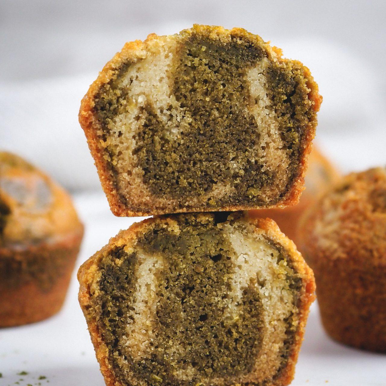 Muffins marmolados de té Matcha