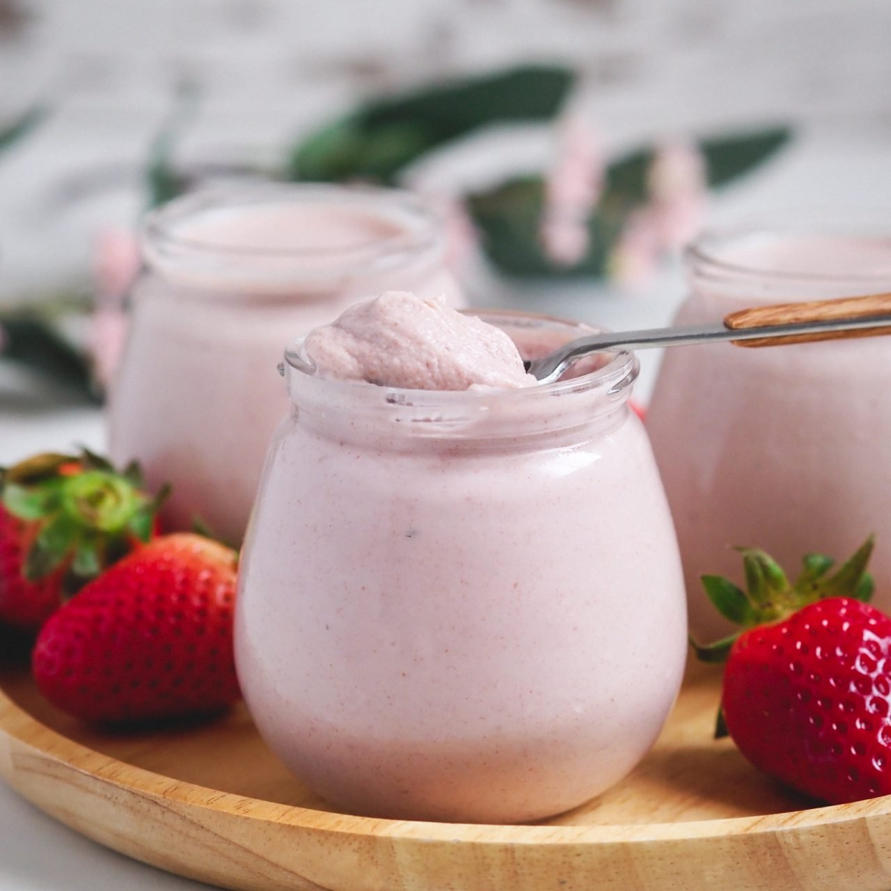 Mousse de fresas saludable