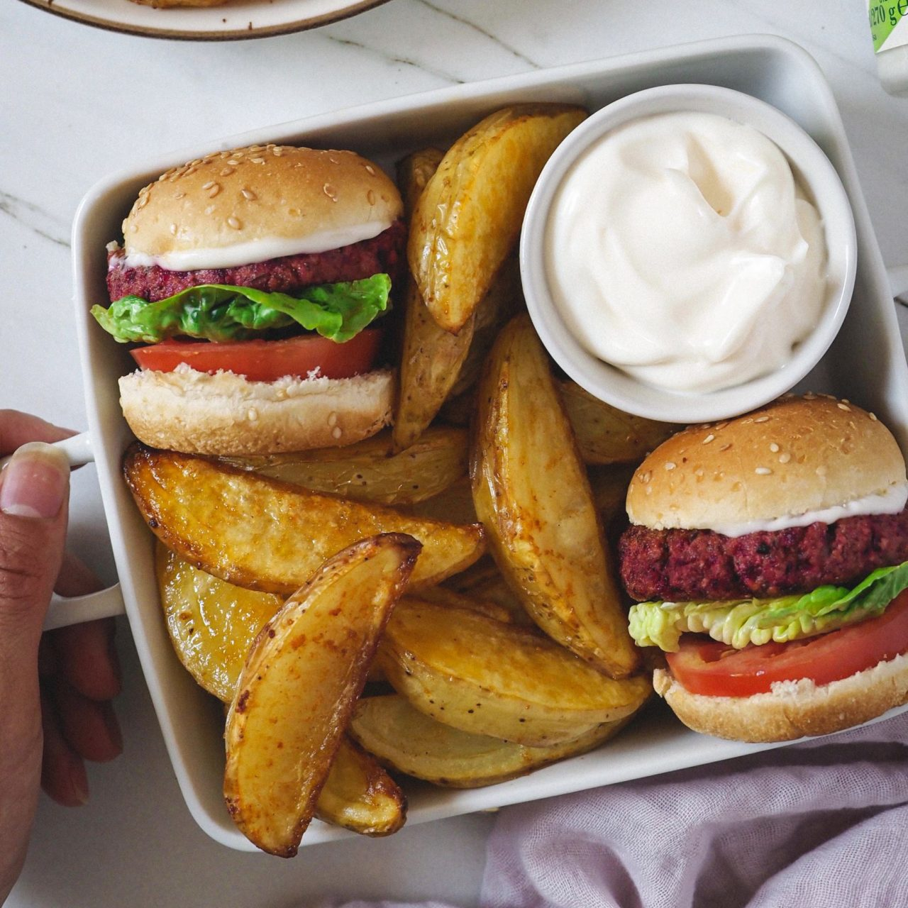Mini burgers de portobello y remolacha