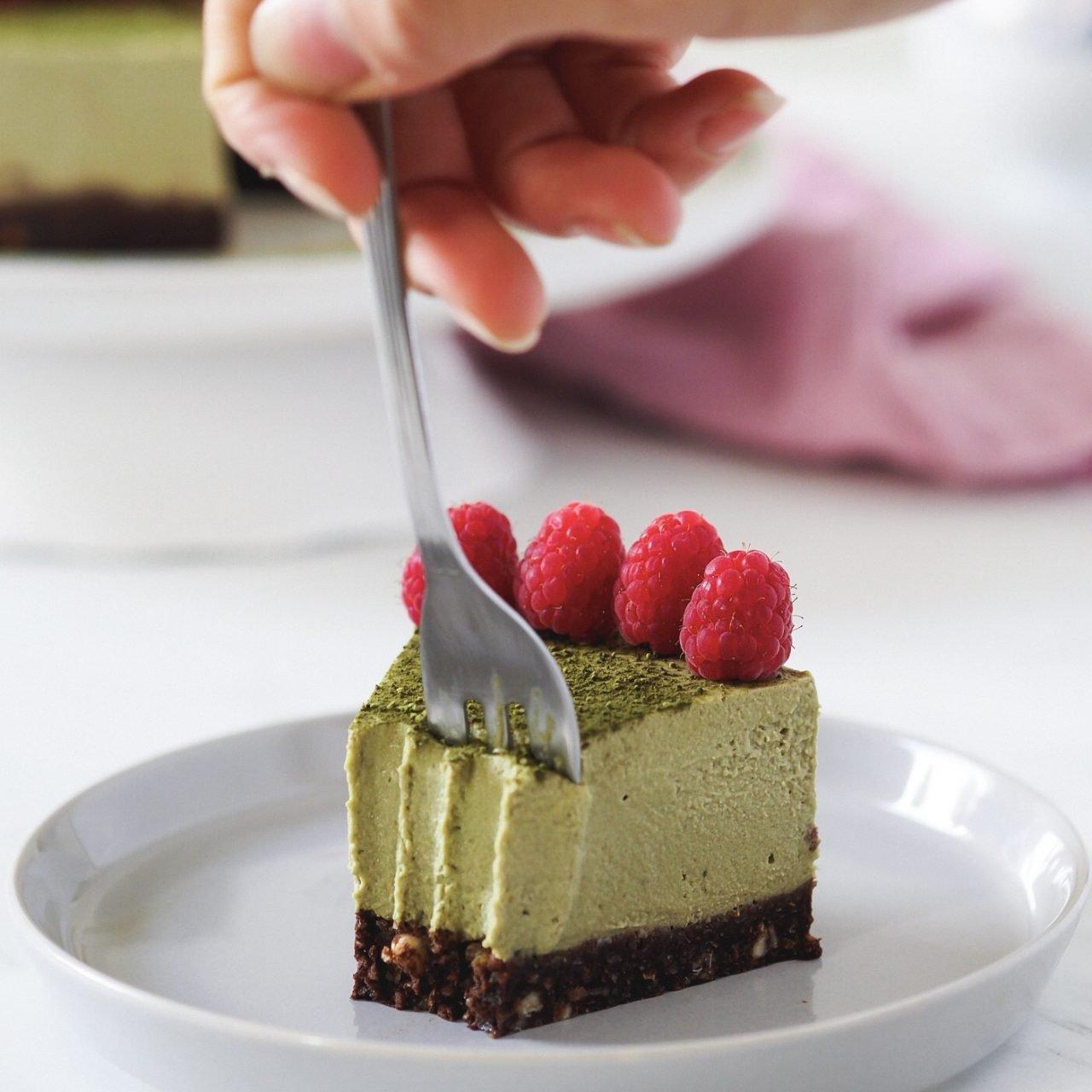 Vegan matcha cheesecake (sin azúcar y sin gluten)